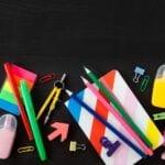 Colourful school supplies