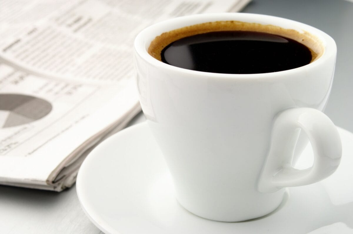 cup of coffee and a newspaper