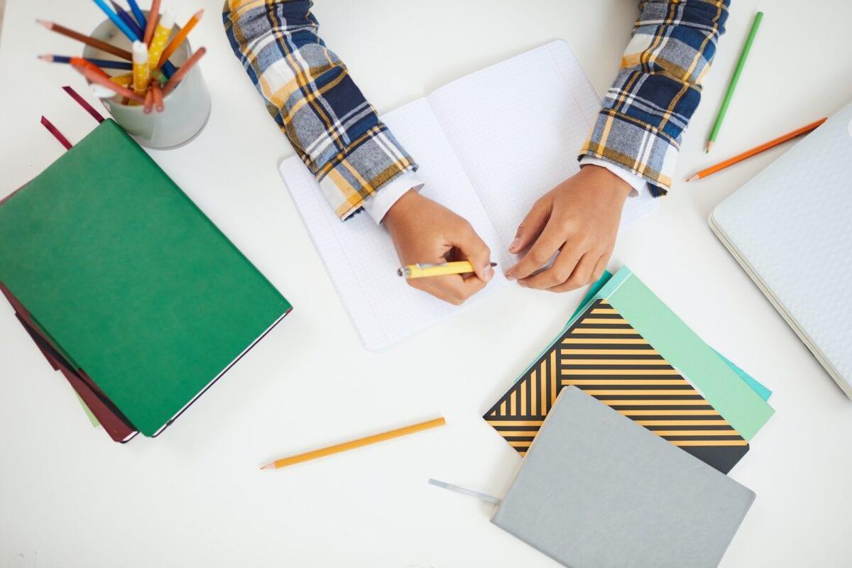 Child Doing Homework Close up