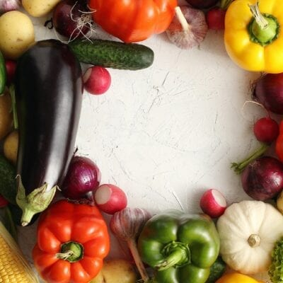 Circle of colorful vegetables mix