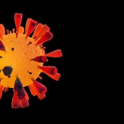 Image of Flu COVID-19 virus cell concept. Coronavirus Covid-19 influenza banner background
