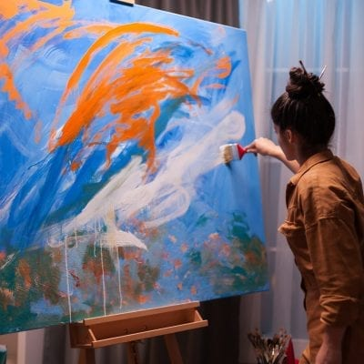 Woman with artistic hobby