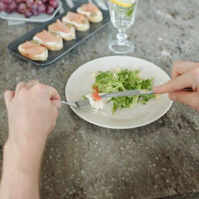 Eating refreshing salad
