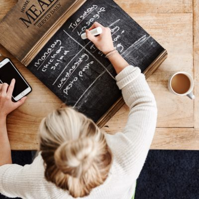 Overhead Shot Looking Down On Woman At Home Writing Meal Plan On