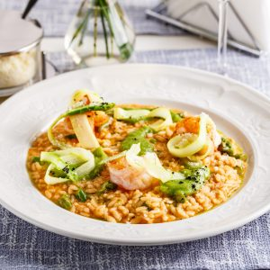 Italian risotto with asparagus and shrimp