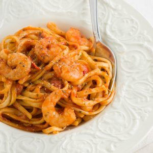 Spicy prawn linguine in a chili and tomato based sauce